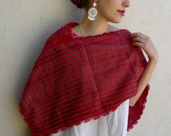 Mexican red rebozo Tenancingo quechquemitl caplette scarf versatile accessory resort Frida Kahlo Small/Medrum