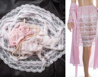 Romantic feminine silky soft sheer pink Perlon and delicate white lace tiered and pleat detail 1960's vintage petticoat crinoline - 3811