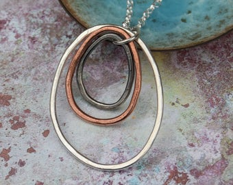 Organic necklace, silver pendant, copper necklace, Rustic pendant, mixed metals, birthday gift