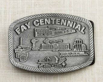 Fay Centennial Belt Buckle 1894-1994 Cool Graphics Whirlwinds Indian Pewter Toned Vintage Belt Buckle 7F