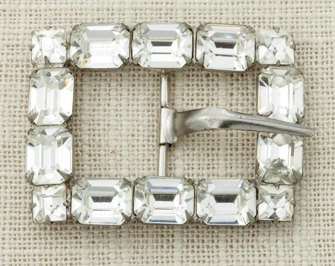 """Crystal Belt Buckle Vintage Silver DIY Belt Parts   Chunky Shiny Crystal Stones 3/4"""" Skinny Belt 16D"""