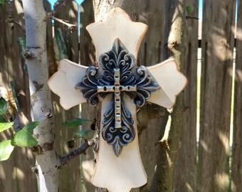 Wall Cross - Wood Cross - Wooden Cross - Rustic Cross - White Cross - Distressed Cross - Crucifix