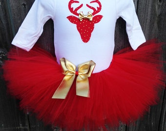Baby's First Christmas Tutu Set, Matching Headband | Red and Gold Reindeer Christmas Outfit | Christmas Photo