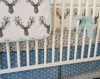 SUMMER SALE-- Boy Crib Bedding- Boy Baby Bedding- Deer Crib BeddingMADE To Order-- Nursery Bedding- Gray Blue