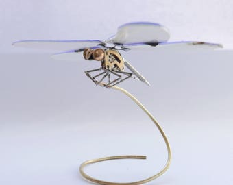 Watch Parts and DVD Wings Dragonfly No 1 Sculpture Recycled Mechanical Clockwork Dragon Fly Clockwork Steampunk Insect Gershenson-Gates