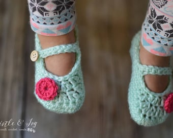Toddler Mary Janes Slippers Crochet Pattern PDF DOWNLOAD
