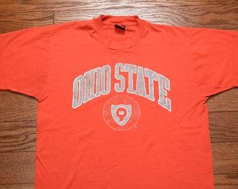vintage 80s Ohio St t-shirt Onio State tee shirt 1980 Ohio State Buckeyes crest t-shirt Screen Stars USA L large