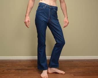 vintage 70s Levis 646 jeans dark indigo wash flare bellbottom orange tab 1970 vintage Levi's