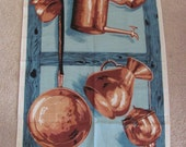 ULSTER // Copper Pans Pots Vintage Novelty Cotton Linen Kitchen Hand Towel