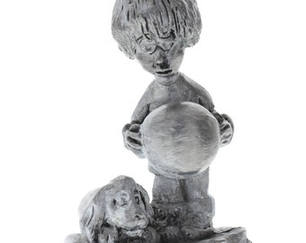 Handcrafted Solid XL Ricker Pewter Boy with Puppy Dog and Ball