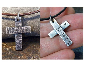 Personalized Stamped Sterling Silver Cross - Hammer Textured Cross - Oxidized Patina - Men's or boy's leather necklace - choker