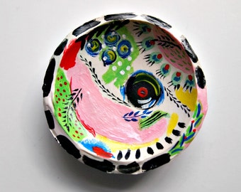 colorful ring dish, trinket dish, jewelry dish, catch all, handcrafted, abstract art, clay dish, painted ring dish