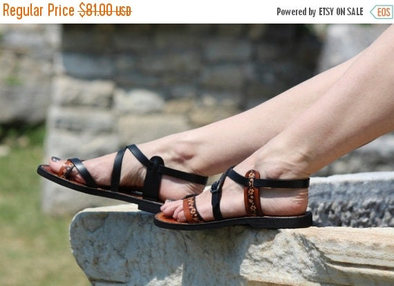 10% off Double Color Burnished Leather Handmade Sandals Newest - Miracle