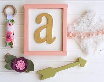 Baby Name Letter . Letter Sign . Alphapet Sign . Baby Girl . Coral  . Baby Nursery . Nursery Letter . 8 x 7 .  3D letter . Woodland nursery