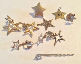 Destash Craft Lot of Vintage Star  Jewelry Pieces
