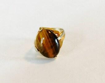 Vintage 1960s Uniclad Genuine Tigers Eye Ring