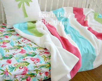 Pink Flamingo Toddler Bedding or Baby Bedding, Crib Bedding. 2 Pieces. Pink Flamingo Fitted Sheet and Linen Stripe Blanket. Ready to Ship!