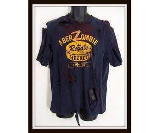 Zombie Costume. aberZombie T-Shirt. Custom Made Zombie Shirt. Bloody Abercrombie T-Shirt. Halloween Costume. Zombie Apocalypse. Adult Size M