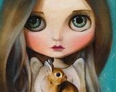 Big eyes girl, Blythe doll PRINT, art Print, girl illustration, blythe girl, cute girl, ooak blythe painting, animals angel animal lover