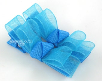 Baby hair clips, bright blue hair clips, neon hair bows, pigtail bows, small girls hair bows, sheer tuxedo bow special occasion barrettes