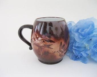 Limoges Porcelain Mug with Handpainted Birds Klingenberg & Dwenger (AKD) Limoges France c1900 -FL
