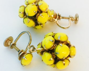 1950s Yellow Globe Dangle Twistbacks
