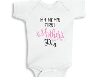 My Mom's First Mothers Day  Baby Girl Bodysuit