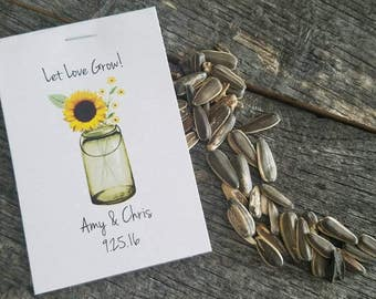 Rustic Yellow Brown Sunflower Seeds Green Mason Jar Let Love Grow Flower Seed Packet Favor Shabby Chic Cute Favors for Bridal Shower Wedding