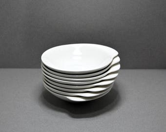 1950s Royal China Lugged Bowls Set Of 8 Midcentury Modern Atomic Style 50s Vintage Dishes Pure White Side Plates