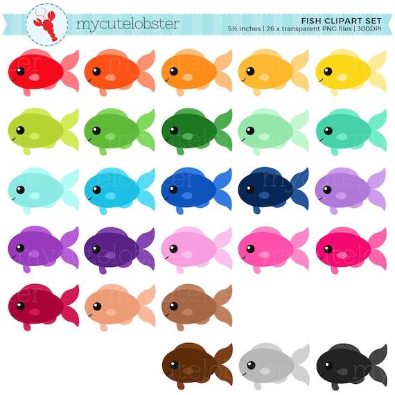 Rainbow Fish Clipart Set clip art set of fish cute fish