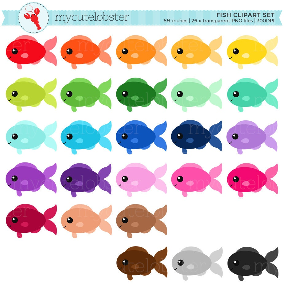 Rainbow fish clipart set clip art set of fish cute fish for Small fish pictures