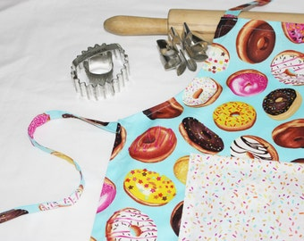 Donuts on Turquoise Child Apron with sprinkles pocket