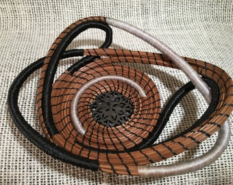 Black and White Whimsey pine needle basket