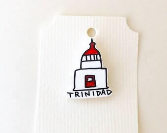 Lighthouse Pin, Shrink Plastic Lighthouse Brooch, Shrinky Dinks Pin, Trinidad Lighthouse
