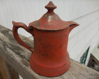 Vintage Red Creamer Quadruple New York WR Metal Small Retro 1800s to 1900s