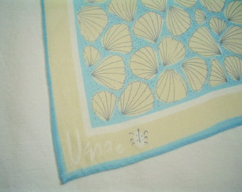 Vintage Vera Scarf with Seashells Blue and Beige Silk Scarf for the Beach