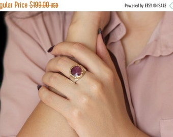 Gold and silver ruby ring, Ruby jewelry, Statement ring, Natural African ruby ring, Marsala