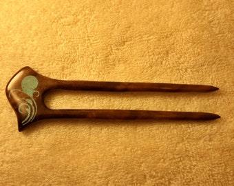 Hair fork Walnut Burl reversable Turquoise and Rhodochrosite Hairfork bun holder & maker