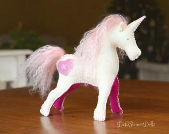 Waldorf Steiner inspired Wool Felt Unicorn-Natural Fibre Unicorn-Waldorf Unicorn Doll- Toy Unicorn-Fantasy Animal Decor- Debs Steiner Dolls