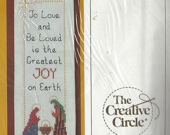 "80s Christmas Joy Bellpull Creative Circle Counted Cross Stitch Kit 2162 By Denise May-Levenick Christmas Bellpull Kit 4"" x 14 NIP"