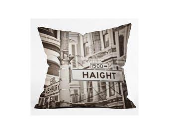 Throw Pillow. Dorm Decor.  Living Room Decor. San Francisco. Haight Ashbury Street Signs. Black and White. City. SF Home Decor