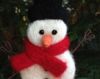 Needle Felted Snowman Ornament Christmas Decoration