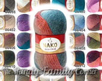 Nako Arya Ebruli. Alpaca yarn. Mohair shaw lyarn. Alpaca blend. Lace alpaca Shade dyed Colour of your choice. DSH