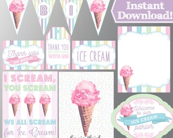 Ice Cream Birthday Party - Pink and Pastels - Ice Cream Party - Ice Cream Decorations - Instant Download