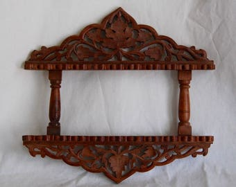 Antique Vintage Style India Carved Wood Collectible Spoon Rack