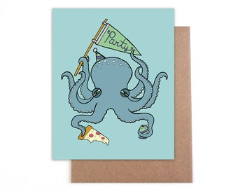 Party Octopus 4 x 5 Blank Card