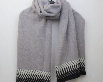 Monochrome scarf / shawl, large grey wrap, grey monochrome chevron scarf, lambswool knitted scarf, large woolly scarf made in GB