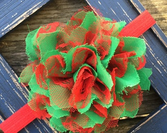 Christmas Holidays Red Green Frayed Chiffon and Lace Flower Headband