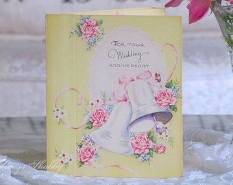 Adorable Antique POP UP ANNVERSARY Card, Flowers, 3d, Three Dimensional, Cottage, Pink Roses, Wedding Bells