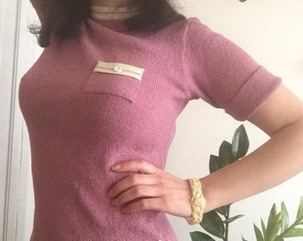 Vintage 70s Purple Knit Sweater Top